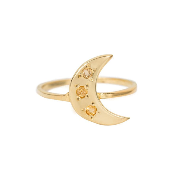CITRINE CRESCENT MOON RING