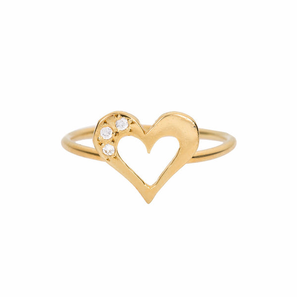 TOPAZ HEART RING - GOLD