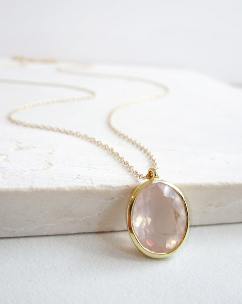 14k Gold Rose Quartz Pendant