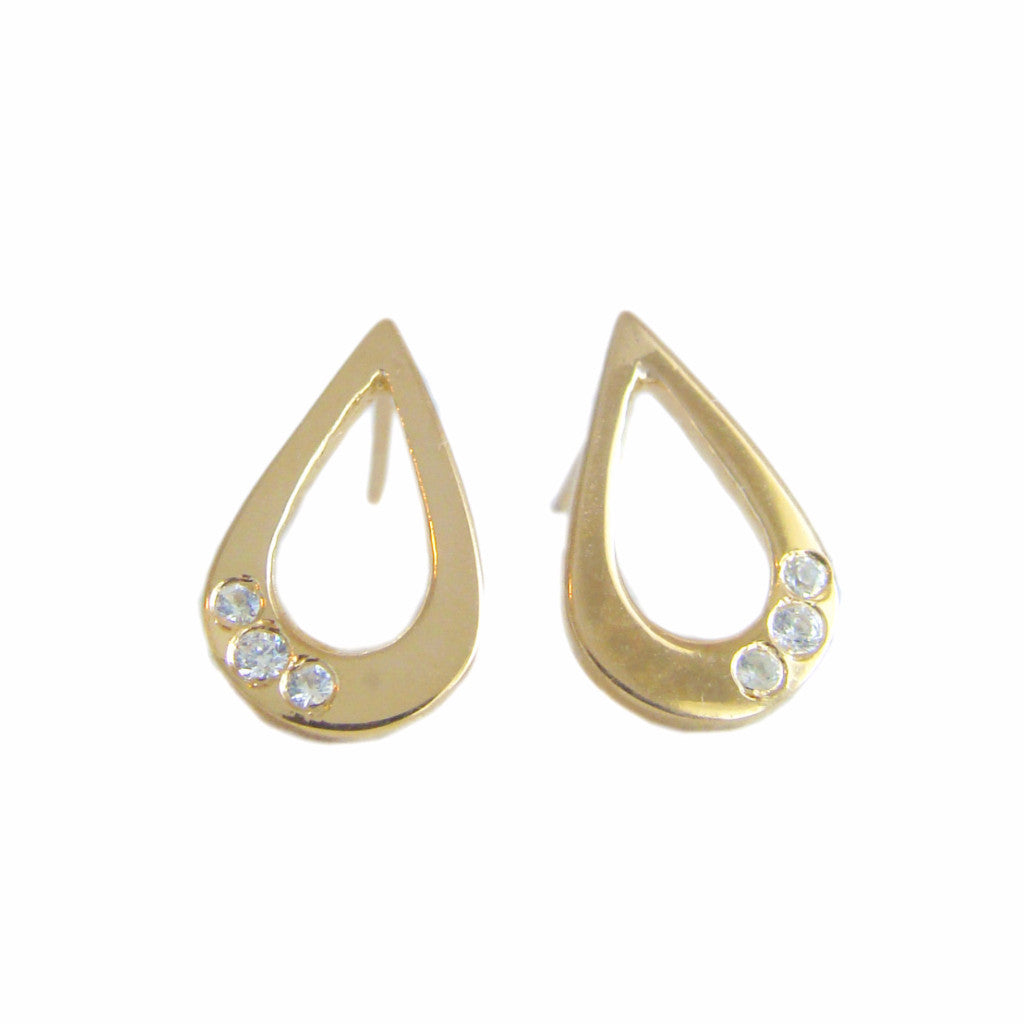 Gold Teardrop Stud Earrings
