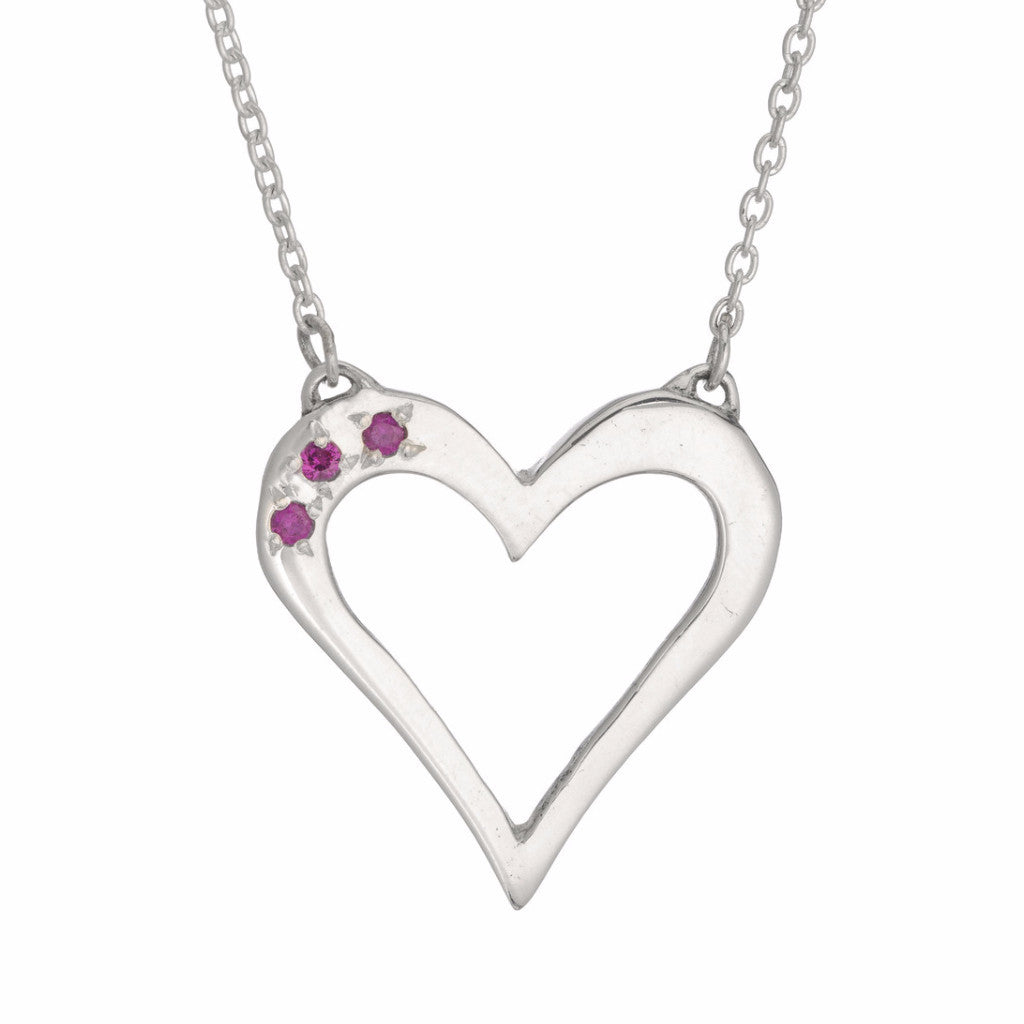 RUBY OPEN HEART PENDANT - SILVER
