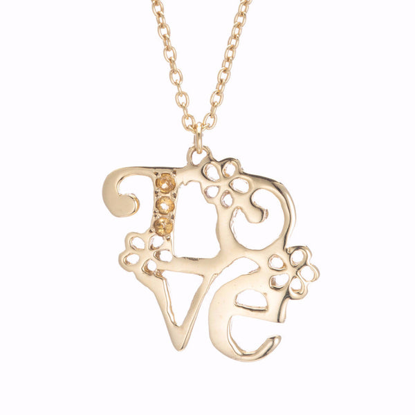 GOLD FLORAL LOVE NECKLACE