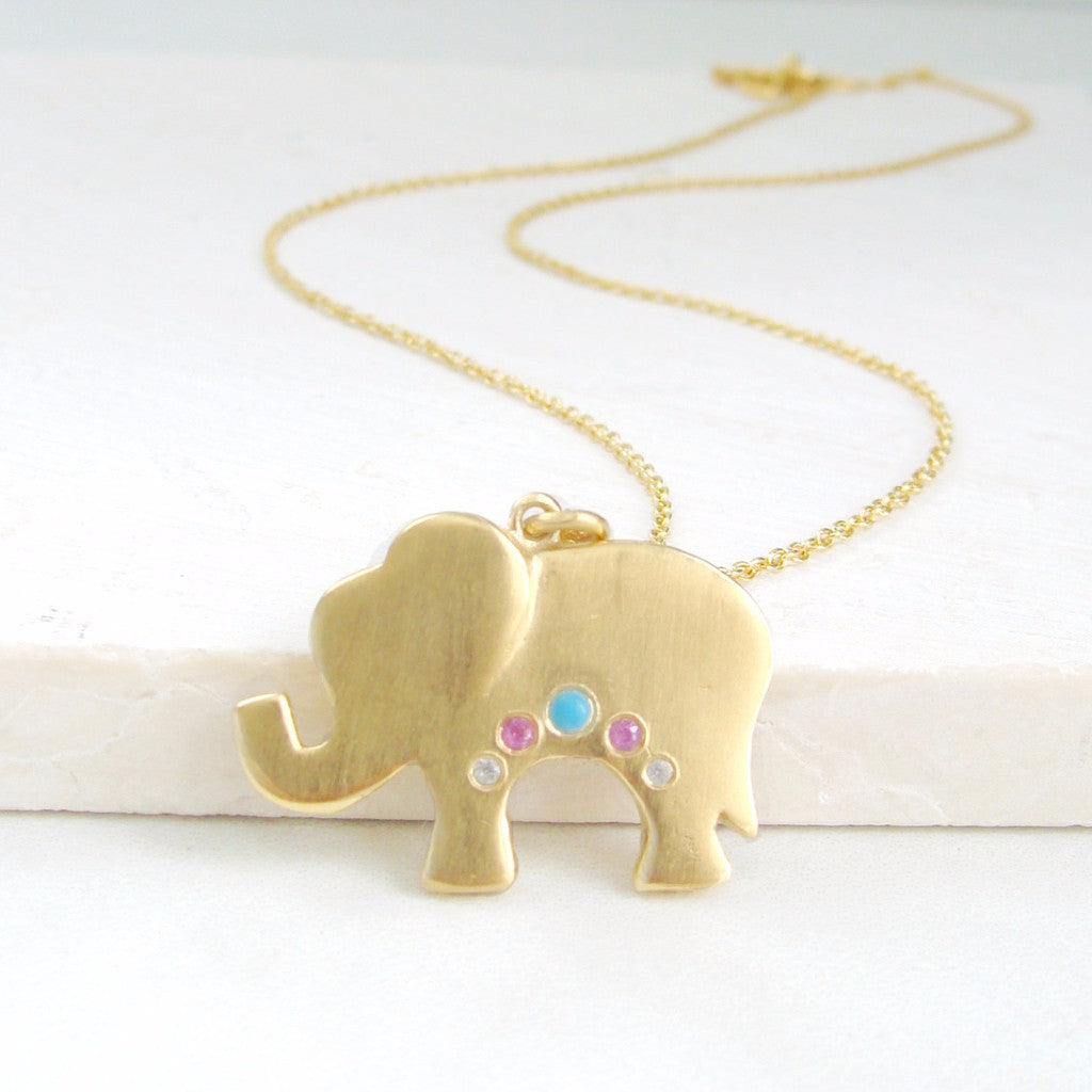 MINI ELEPHANT NECKLACE, GOLD