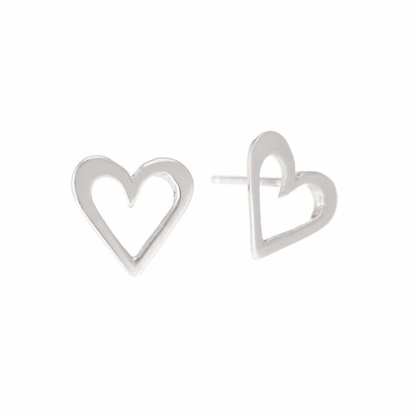 CLASSIC HEART STUDS - SILVER