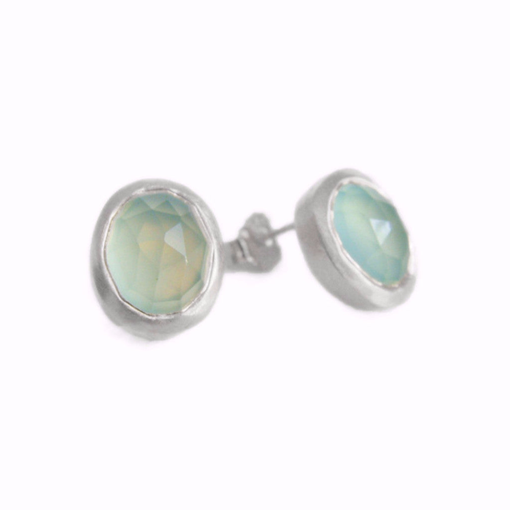 Aqua Chalcedony Stud Earrings, Silver