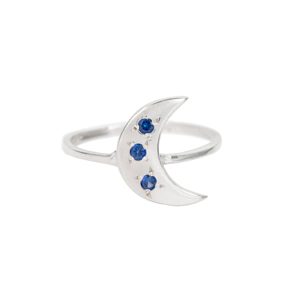 SAPPHIRE CRESCENT MOON RING