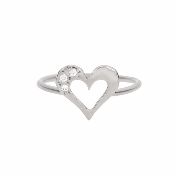 TOPAZ HEART RING - SILVER