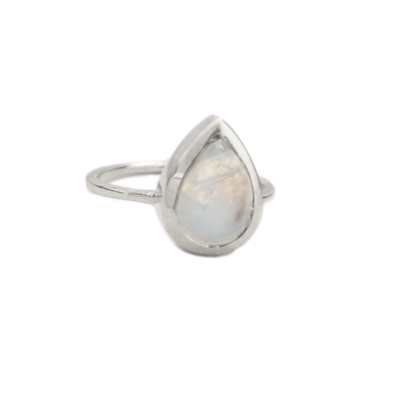 TEARDROP MOONSTONE RING, SILVER