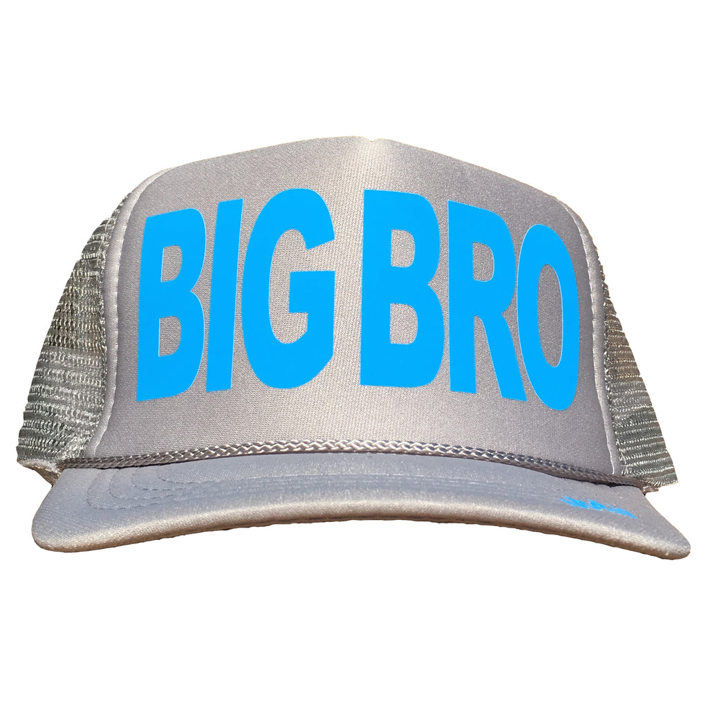 Big Bro in light blue ink on the front panel of a kid's mesh light gray trucker cap with an adjustable snapback, small fit