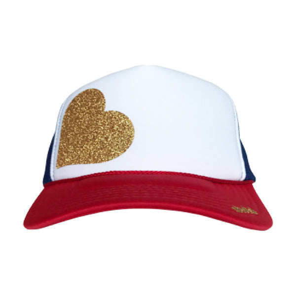 Heart in glitter gold ink on the front panel of a classic mesh red, white, blue trucker cap with an adjustable snapback