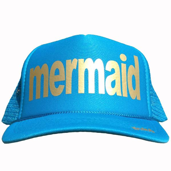 Mermaid in gold ink on the front panel of a mesh Columbia Blue trucker cap with an adjustable snapback