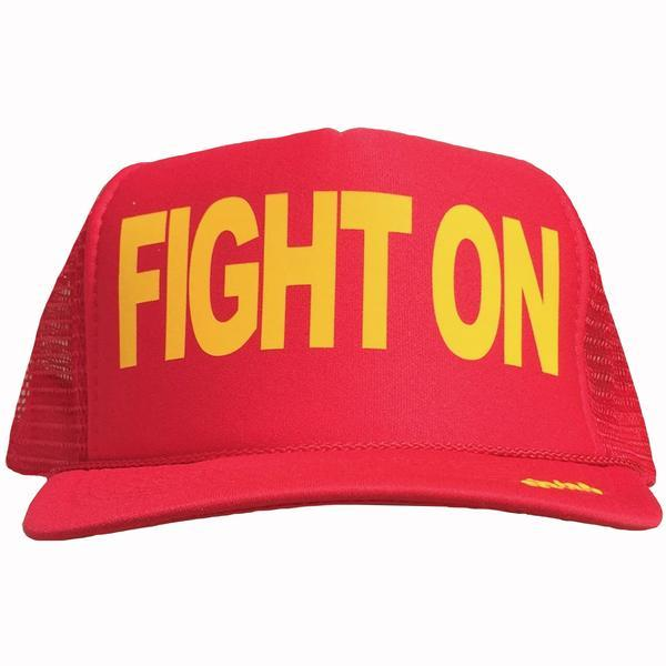 Fight On in yellow ink on the front panel of a red mesh trucker cap with an adjustable snapback