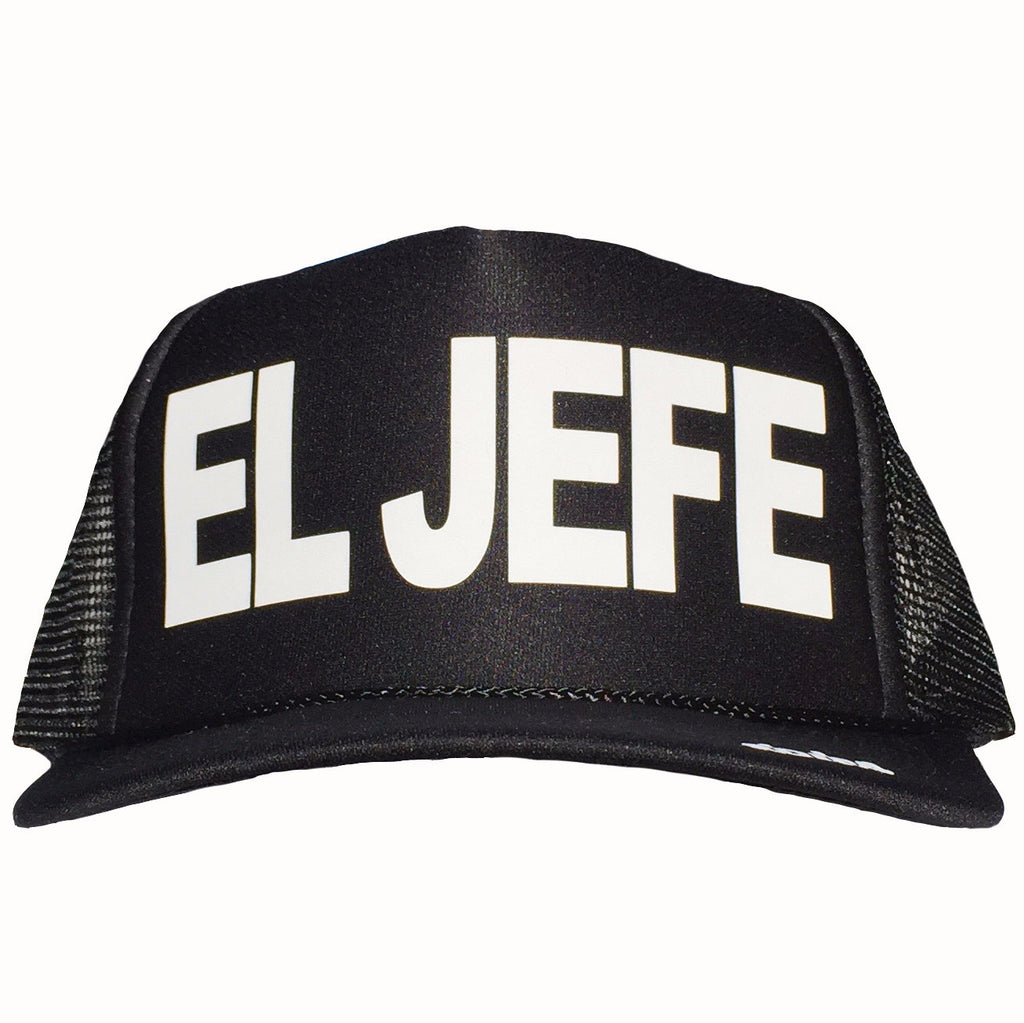 El Jefe in white ink on the front panel of a black mesh trucker cap with an adjustable snapback