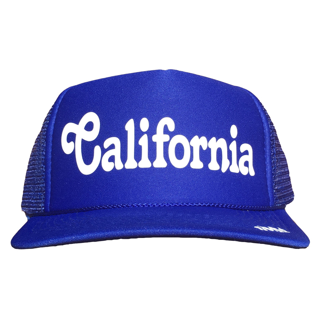 California in white ink on the front panel of a blue mesh trucker cap with an adjustable snapback