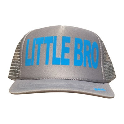 Little Bro in Columbia Blue  ink on the front panel of a gray trucker cap with an adjustable snapback, small fit