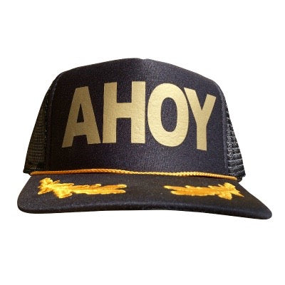 Ahoy in gold ink on the front panel of a classic mesh black trucker cap with an adjustable snapback