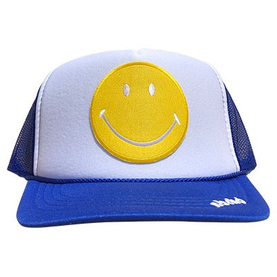 Yellow Happy Face patch on the front panel of a mesh royal-white trucker cap with an adjustable snapback, small fit
