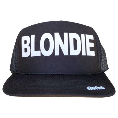 Blondie in white ink on the front panel of a black trucker cap with an adjustable snapback