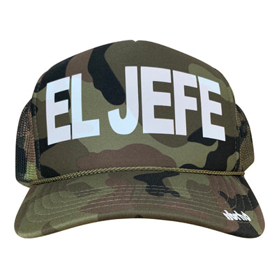 El Jefe in white ink on the front panel of an olive camo mesh trucker cap with an adjustable snapback