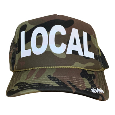 Local in white ink on the front panel of a classic mesh camo trucker cap with an adjustable snapback