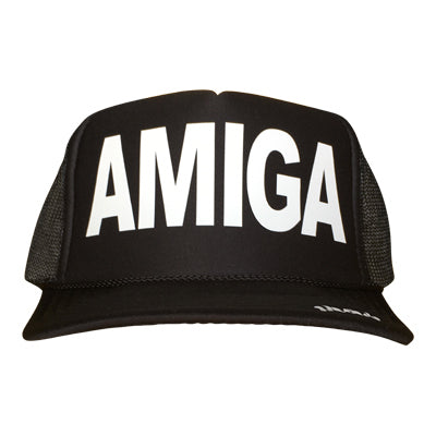 Amiga in white ink on the front panel of a classic mesh black trucker cap with an adjustable snapback