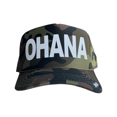Ohana in white ink on the front panel of a classic mesh camo trucker cap with an adjustable snapback