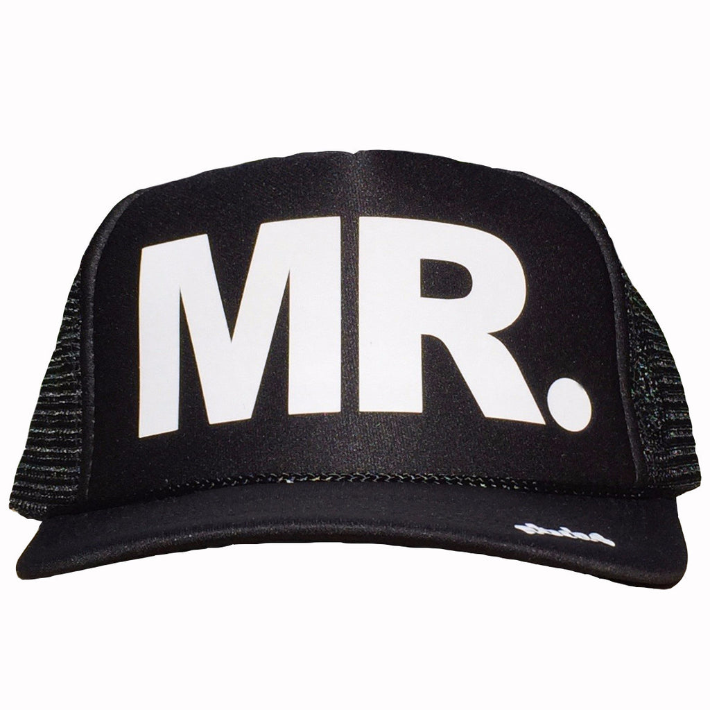Mr. in white ink on the front panel of a classic mesh black trucker cap with an adjustable snapback