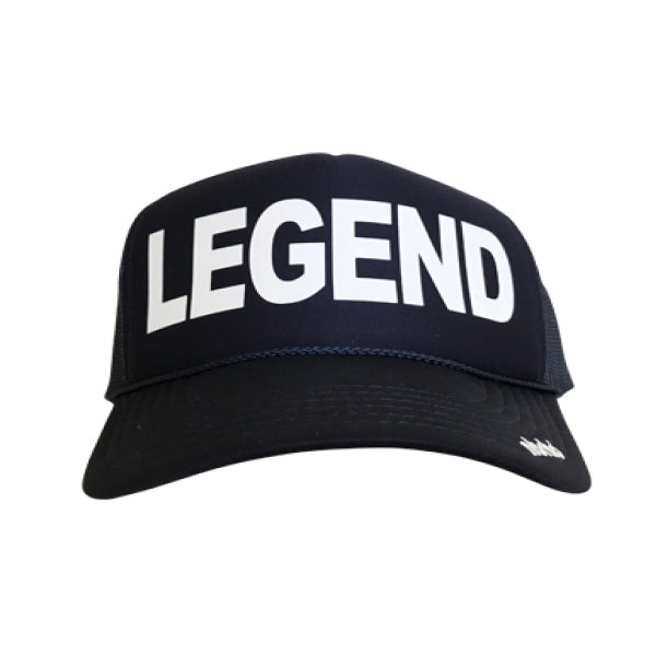 Legend in white ink on the front panel of a classic mesh black trucker cap with an adjustable snapback