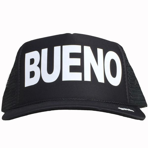 Bueno in white ink on the front panel of a black mesh trucker cap with an adjustable snapback