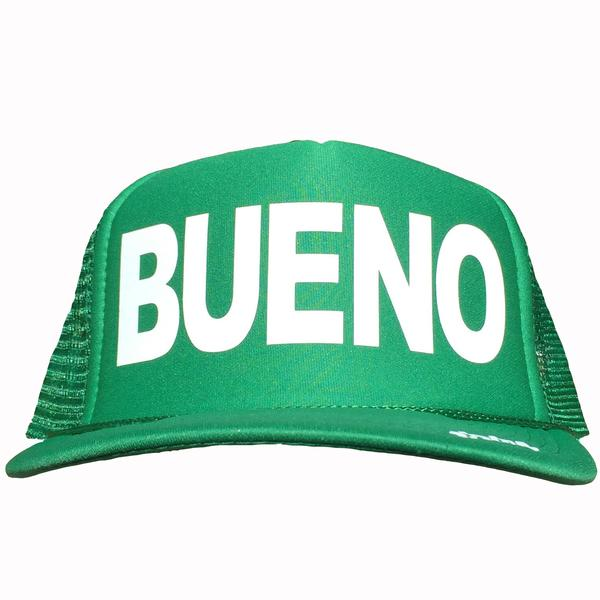 Bueno in white ink on the front panel of a green mesh trucker cap with an adjustable snapback