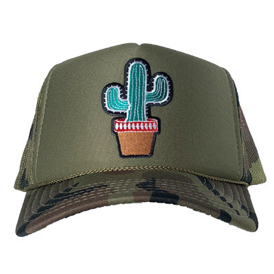 Cactus patch on the front panel of an olive camo trucker cap with an adjustable snapback
