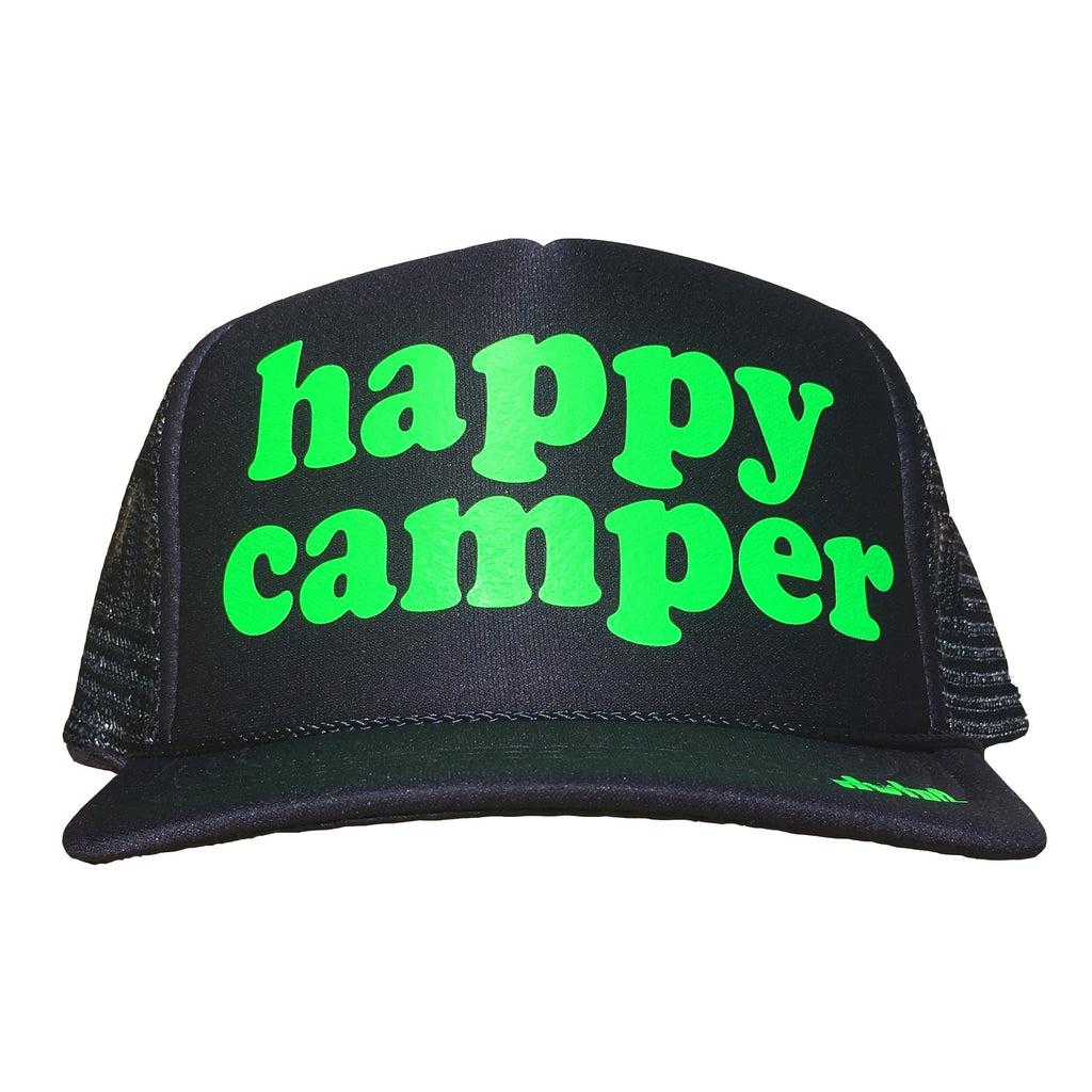 happy camper in neon green ink on the front panel of a mesh navy trucker cap with an adjustable snapback, small fit