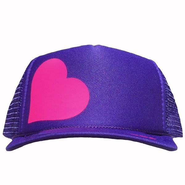 Heart in pink ink on the front panel of a purple mesh trucker cap with an adjustable snapback, small fit