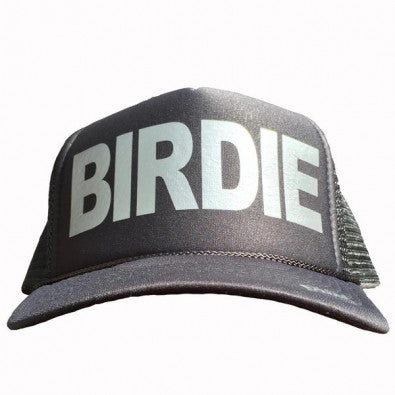 Birdie in silver ink on the front panel of a classic mesh charcoal trucker cap with an adjustable snapback
