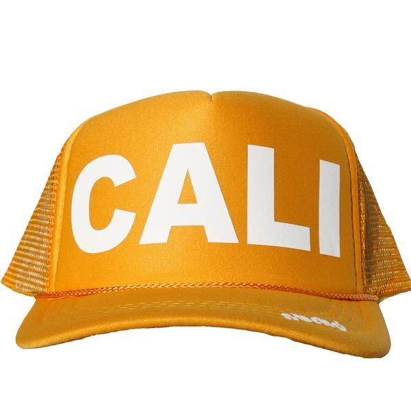 Cali in white ink on the front panel of a yellow mesh trucker cap with an adjustable snapback