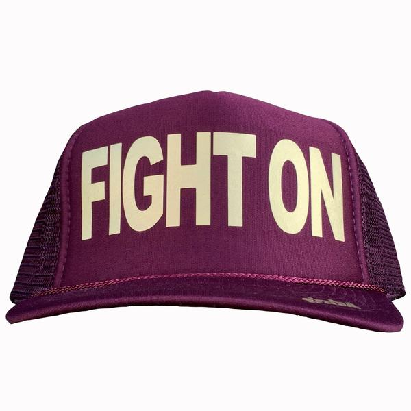 Fight On in gold ink on the front panel of a maroon mesh trucker cap with an adjustable snapback