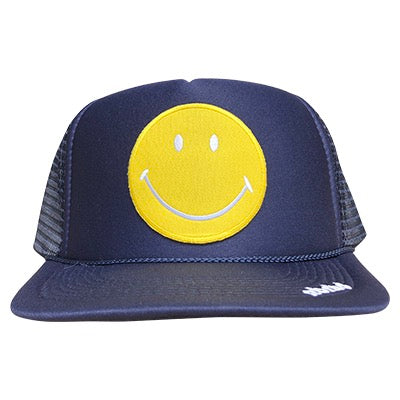 Yellow Happy Face patch on the front panel of a mesh navy trucker cap with an adjustable snapback, small fit