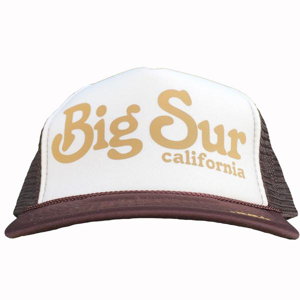 Big Sur California in gold ink on the front panel of a white-brown trucker cap with an adjustable snapback