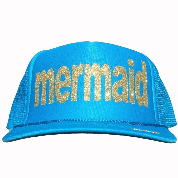 Mermaid in glitter gold ink on the front panel of a  mesh Columbia Blue trucker cap with an adjustable snapback