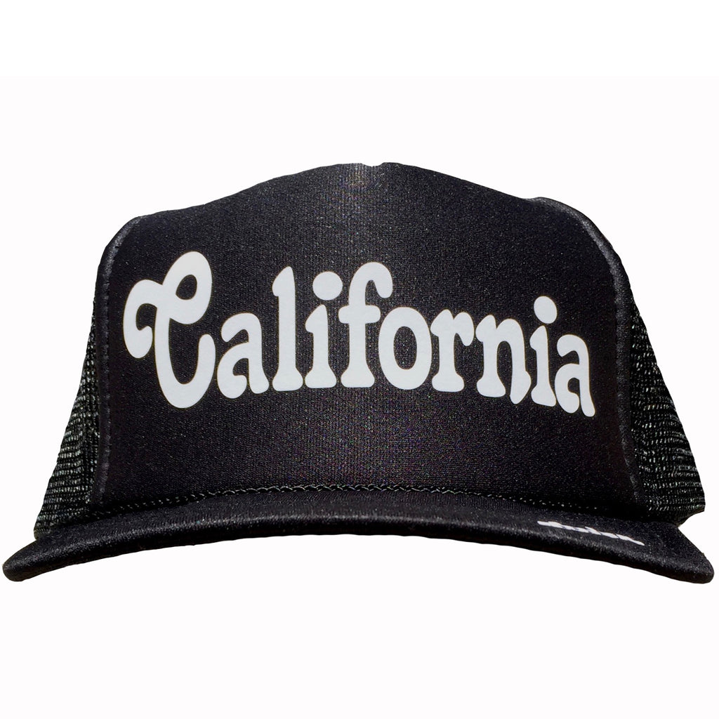 California in white ink on the front panel of a black mesh trucker cap with an adjustable snapback