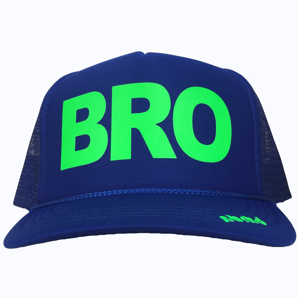 BRO in neon green ink on the front panel of a blue trucker cap with an adjustable snapback, small fit
