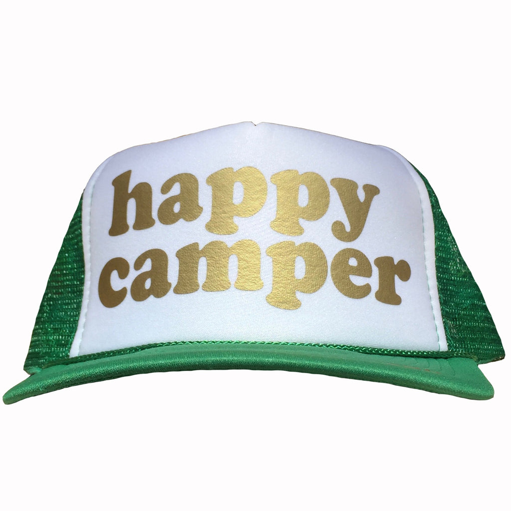 happy camper in gold ink on the front panel of a mesh green-white trucker cap with an adjustable snapback