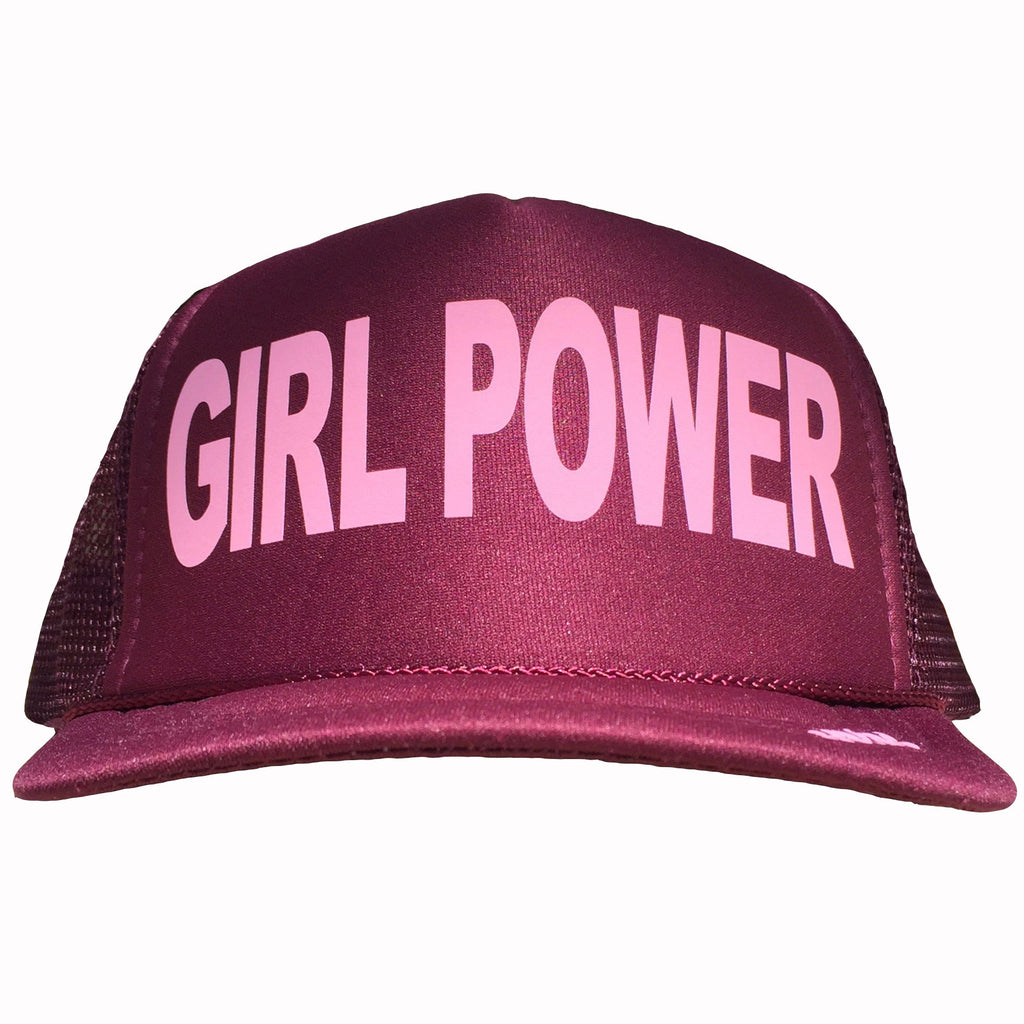 Girl Power in pink ink on the front panel of a maroon mesh trucker cap with an adjustable snapback, small fit