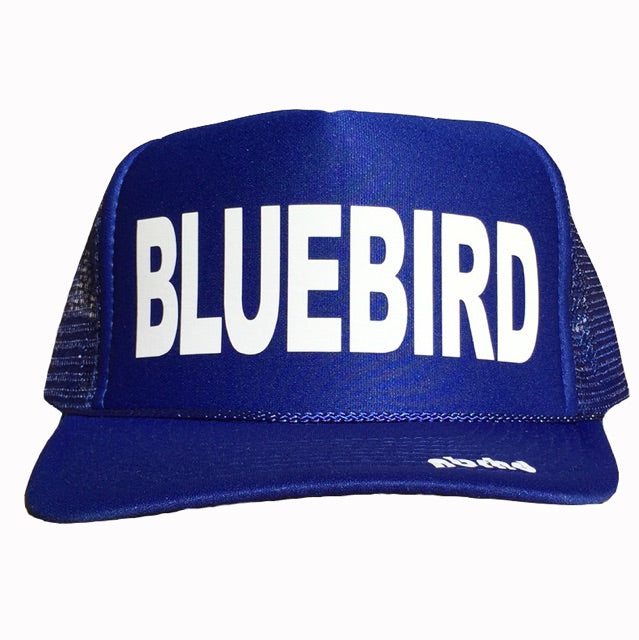 Bluebird in white ink on the front panel of a blue mesh trucker cap with an adjustable snapback