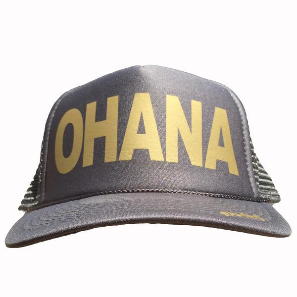 Ohana in gold ink on the front panel of a classic mesh charcoal trucker cap with an adjustable snapback