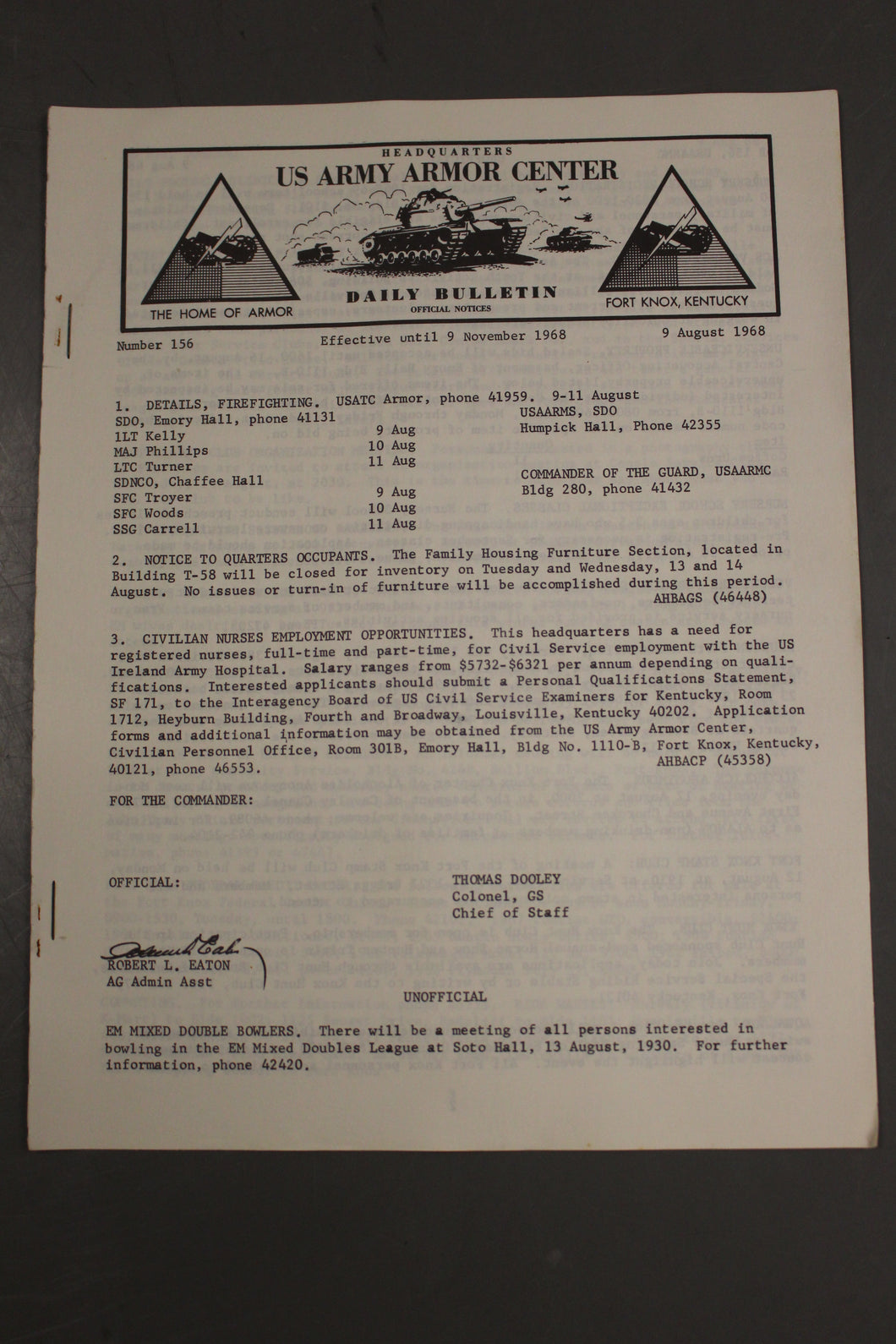 US Army Armor Center Daily Bulletin Official Notices, No 156, August 9, 1968