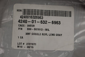 Uvex XMF Tactical Safety Googles Replacement Lens, Gray, 4240-01-632-6963, New