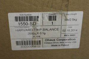 Harvard Trip Balance, Model 1550-SD, 2000g x 0.1g, New