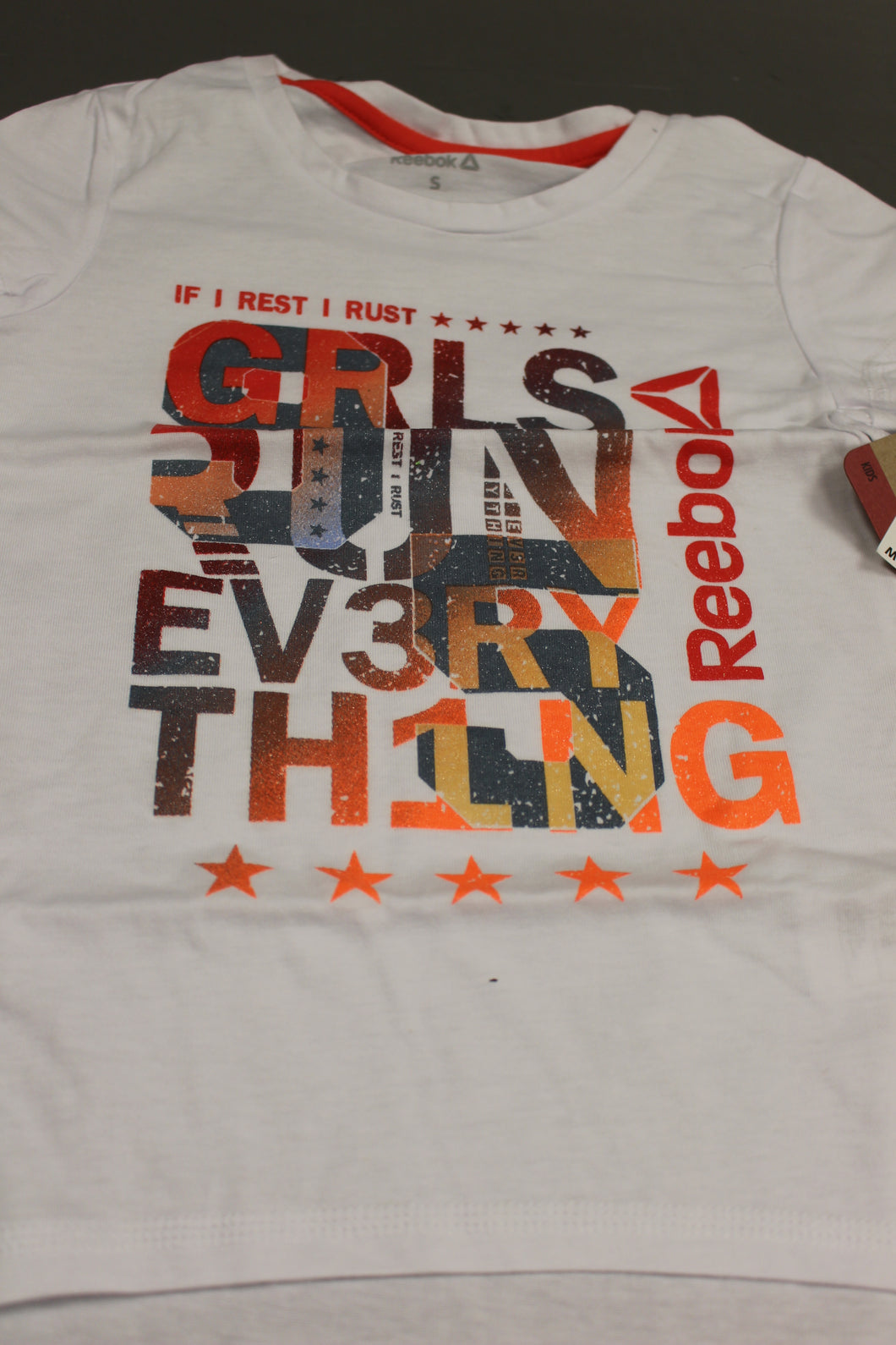 Reebok If I Rest I Rust / GRLS Run Ev3ry Th1ng T-Shirt, Small, New
