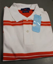 Load image into Gallery viewer, Proline Men's Sportswear Polo T-Shirt, Large, White with orange, NEW!